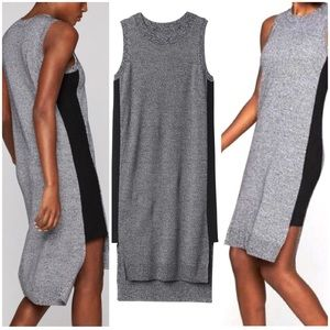 Athleta Merino Midi Dress Black Marl Gray Hi Lo S